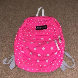 Hot pink polka-dot backpack!